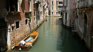 Water taxi in the canal of Venice Italy