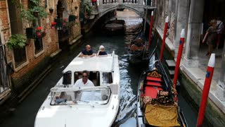 Water taxis and gondolas in Venice Italy