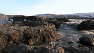 Waterfall stream time lapse slide from the Godafoss waterfall in Iceland