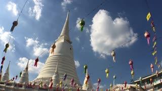 Wide angle shot from the pagoda Wat Prayurawongsawas temple Bangkok, Thailand