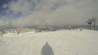 Wide landscape view while skiing