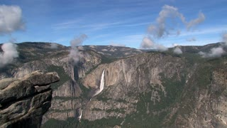 Yosemite National Park landscape with waterfall wide view