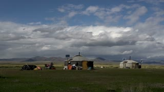Zoom out from 2 yurts (Ger) from nomads in Mongolia