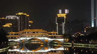 Zoom out from to the Anshun Bridge at night