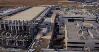 Aerial footage of a large industrial complex