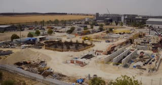 Aerial footage of a large scale construction site