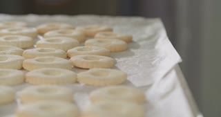 Baker sprinkling powdered sugar on butter cookies