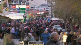 Busy Christmas market in Nazareth, Israel.
