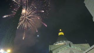 Christmas fireworks over the basilica of Annunciation in Nazareth, Israel