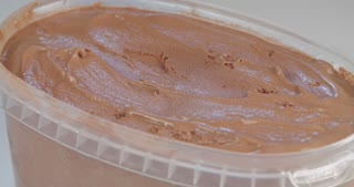 Close up shot of chocolate ice cream