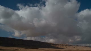Clouds over the Ramon crater in the Negev desert