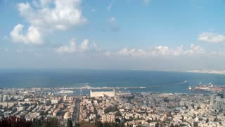 Clouds time lapse over the Haifa port in Israel