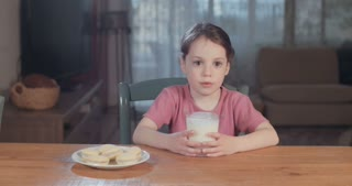 cute little girl drinking milk with cookies