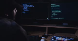Hacker sitting in a dark room in front of screens and hacking computer systems