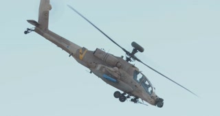 Israeli air force AH-64 apache attack helicopter during combat