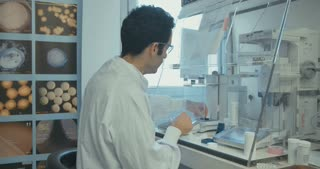 Lab technician working in a pharmaceutical laboratory weighing pills