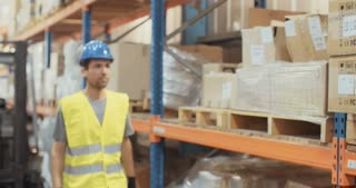 Logistics worker walking in a large warehouse inspecting items