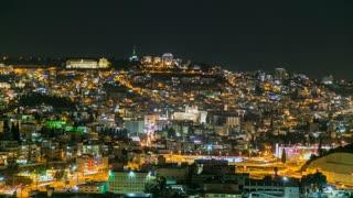 Night time lapse of Nazareth, Israel