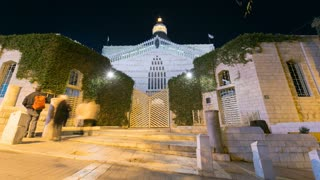 Night time lapse of the basilica of Annunciation in Nazareth, Israel