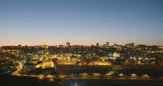 Night time lapse of the temple mount in old city Jerusalem