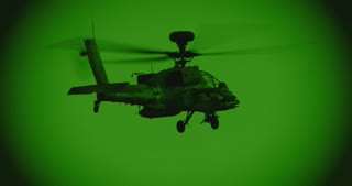 Night vision footage of AH-64 Apache attack helicopter during a combat mission
