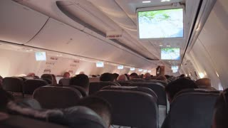 People inside an airline jet during flight