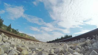 POV shot from under a passing train