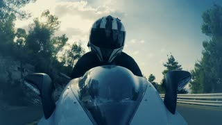 POV shot of a sports motorcycle rider