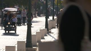 Promenade street, people walking, shopping