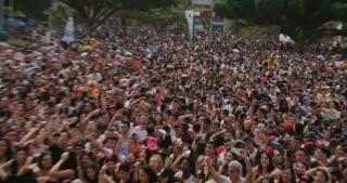 Tel Aviv, Israel. March 25th 2016. Crowd dancing and enjoying in a music festival