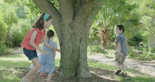 Three kids playing catch around a big tree outdoors