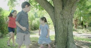Three kids playing catch around a big tree