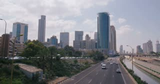 Time lapse of high rise buildings in Tel Aviv, Israel