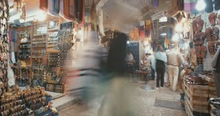 Time Lapse of old market in old city Jerusalem, Israel