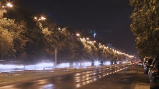 Time Lapse of street traffic at night in Bucharest, Romania