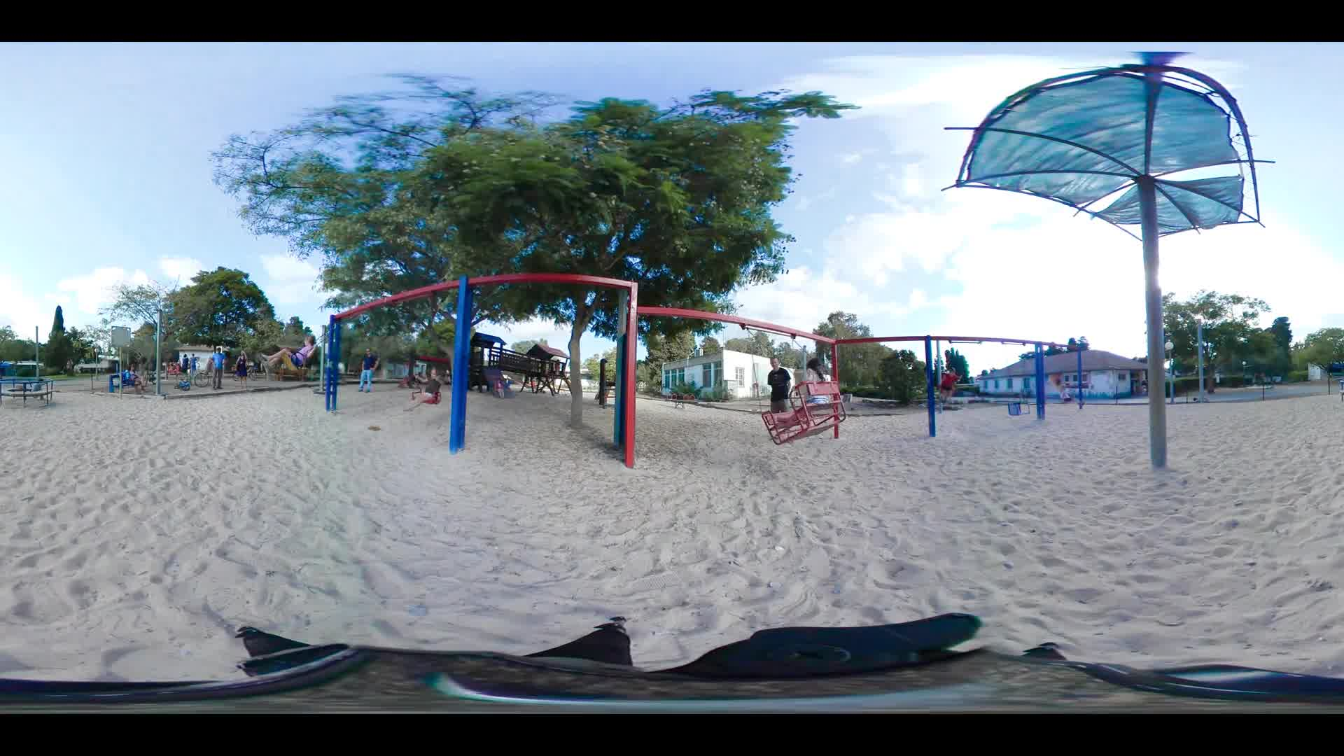 360 VR video of kids playing in a playground