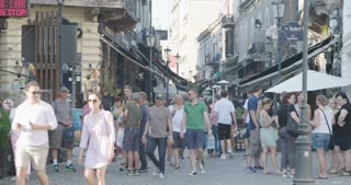 BUCHAREST, ROMANIA - AUGUST 4TH 2017: The streets of the old city with tourists