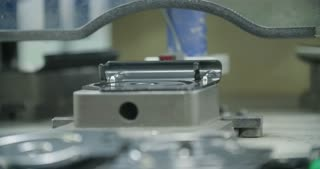 Close up of a Production line of parts for the automotive industry