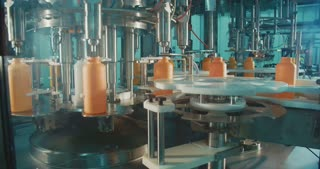 Filling of chemical bottles in a production line