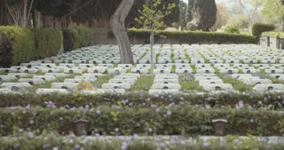 Graves and tombstones in a military cemetery