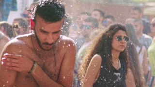 KINERET, ISRAEL, April 6 2018-Slow motion of a man dancing in a dance party