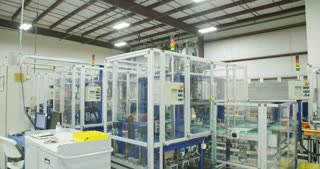 Large production line of parts for the automotive industry with machines