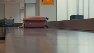 Luggage on a conveyor at the airport