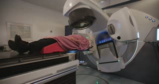 Patient getting Radiation Therapy Treatment in a radiotherapy room
