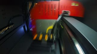 POV shot inside a large format printer printing at high speed