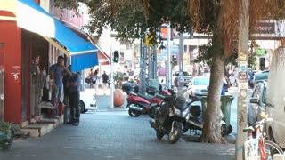Ramat Gan, Israel, Circa 2011 - Busy street with many people walking