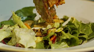 Slow motion of chicken salad on a plate