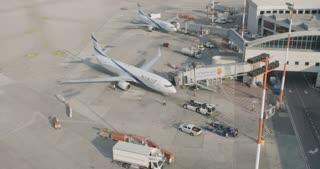 Tel Aviv, Israel - January 2018. Airline jet at the terminal