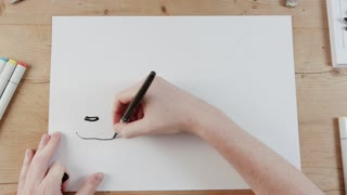 Timelapse of artist drawing an airplane flying