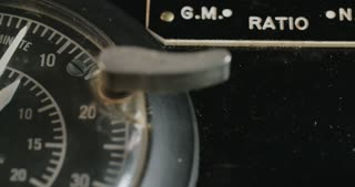 Vintage dial on old electrical equipment